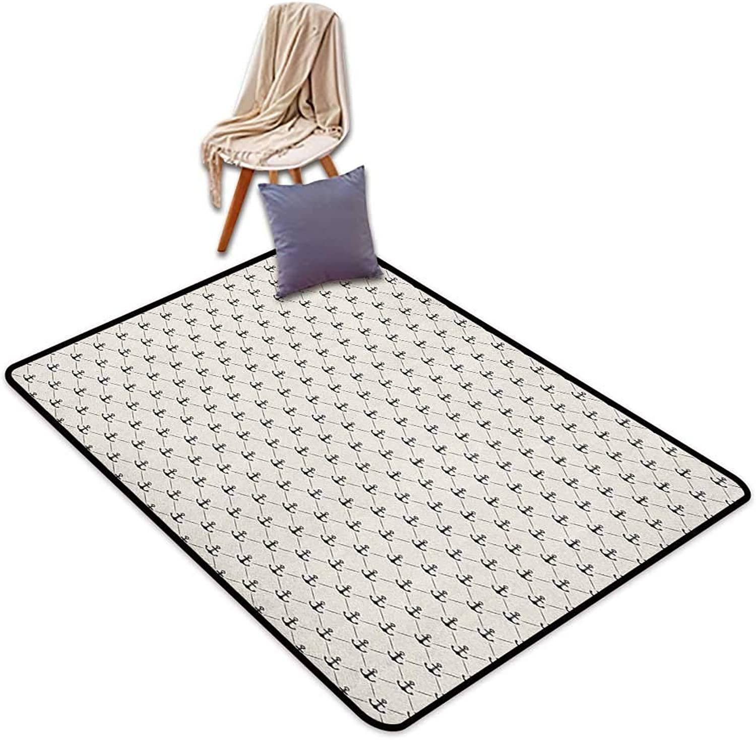 Oversized Floor Rug Anchor Abstract Retro Nautical Style Shape and Lines Monochrome Classical Modern Design Door Rug Increase W5'xL8'