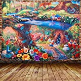 DBLLF Fairytale Forest Tapestry Alice in Garden Wonderland Tapestry 80'x60' Rabbit Motion Cups Hearts and Flower Character Alice Cartoon Style, Wide Wall Hanging for Bedroom Living Room Dorm DBLS1304