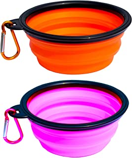 Collapsible Dog Bowl, 2 Pack Collapsable Dog Water Bowls for Cats Dogs, Portable Pet Feeding Watering Dish for Walking Parking Traveling Include 2 Carabiners
