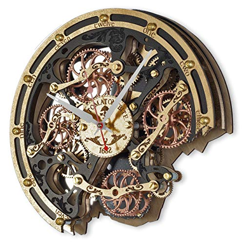 Automaton Bite 1682 Black Gold Custom made Wall Clock, Handcrafted Steampunk Decor, Mechanical moving Gears, Wooden Home Kitchen Living Room and Office design, Personalized Decorative Art, Gift