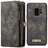 HARRMS Samsung Galaxy S9 Plus 6,2'(Grösser Leder Case Hülle mit Kartenfächer Geldscheinfach mit Reißverschluss Magnet Handy Schutzhülle, Grau
