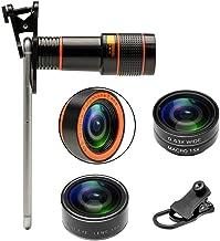 Fgzefort Phone Camera Lenses 4 in 1 Cell Phone Lens Kit 12X Telephoto Lens, 0.63X Wide Angle Lens & 15x Macro Lens, 198°Fi...