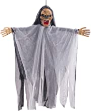 Shan-S Sound Control Scary Animated Cap Gauze Ghost Creepy Cloth Hanging Decoration Halloween Festival Supplies for Haunted House Graveyard Party Entryway