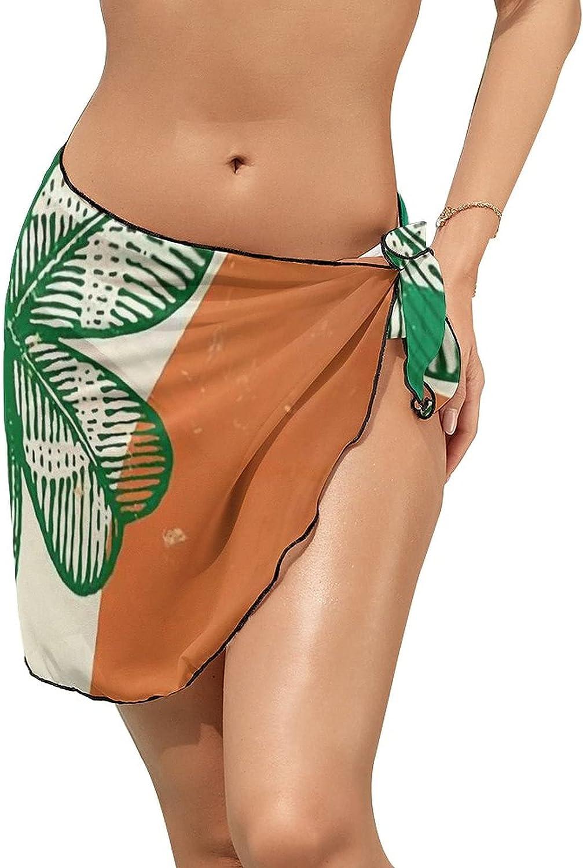 Women's Beach Sarongs Bikini Cover Ups Irish Flag Clover Sheer Swimwear Short Skirt