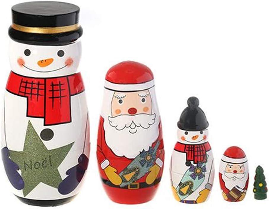 7haofang 5 Max 90% OFF Pcs free shipping Wooden Russian Stacking Nesting Claus Santa Dolls