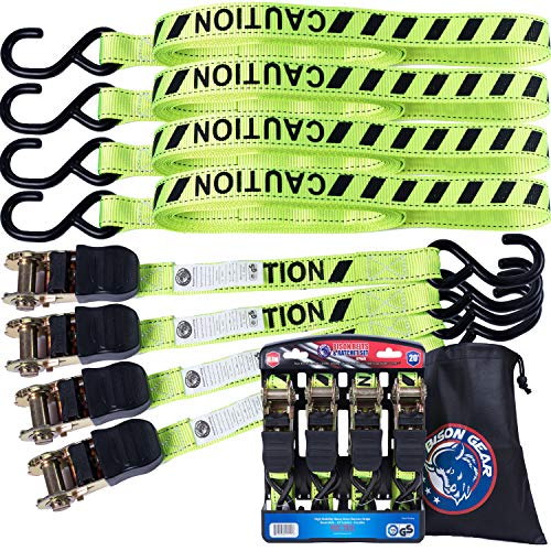 BISON GEAR Ratchet Tie Down Straps 20 ft 4 Pack High Visibility UV Resistant 2200lb Heavy Duty Cargo Straps with Ergonomic Rubber Grips & Coated Deep S Hooks - Safety Standards Certified
