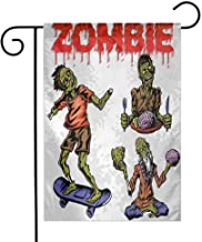 EMODFJCXZ Custom Colorful Garden Flag Zombie Dead Man Eating Brain Cannibal Meditating Skate Boarding Graphic Pattern Daily use Olive Green Red Dust