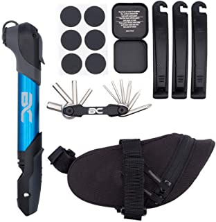 Bike Repair Kit by BC Bicycle Company - Mini Pump - Multitool - Patch Kit -Tire Levers - Seat Bag - Complete Set for MTB Road Hybrid Blue