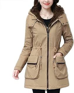 Winter Plus Velvet Jacket, Thick Long-Sleeved Hooded Cotton Coat, Solid Color Ladies Warm Coat (Color : Khaki, Size : L)