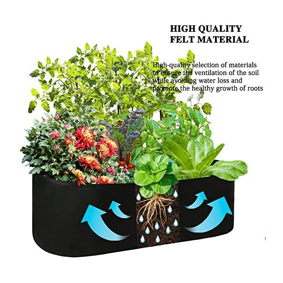 pannow Fabric Raised Planting Bed, Garden Grow Bags Herb Flower Vegetable Plants Bed Rectangle Planter for Plants… 5 ★Space-saving Gardening - Just enjoy the fun of growing your own organic vegetables and fruits; Our planting container is perfect for plants, flowers and fresh herbs, vegetables, fruits etc. ★Premium Material - Made of a proprietary fabric material, a highly durable, UV resistant, non-woven fabric that provides exceptional air flow throughout the soil and root systems and allows excess moisture to easily drain away ★Considerate Design - Plants will grow above the natural ground level with our fabric raised garden bed, which makes tending your garden much easier as you can weed, prune, water and harvest your crop with less stooping and bending; Ideal for anyone with back or joint problems