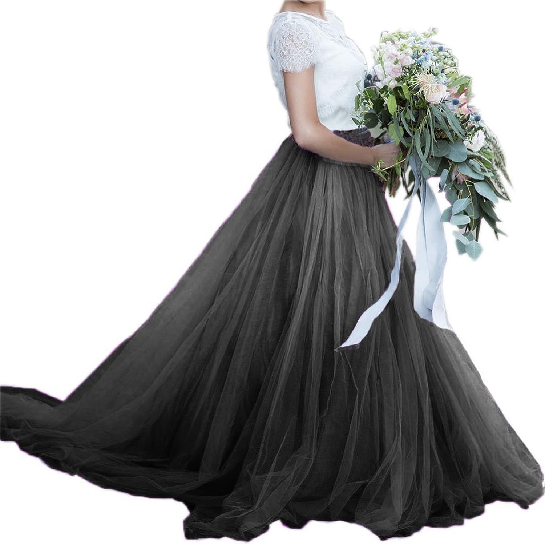 EllieHouse Womens Long Train Prom Party Tutu Tulle Skirt PC16