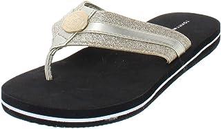 dcb929f7f Tommy Hilfiger Womens Capes Glitter Thong Flip-Flops Gold 6 Medium (B