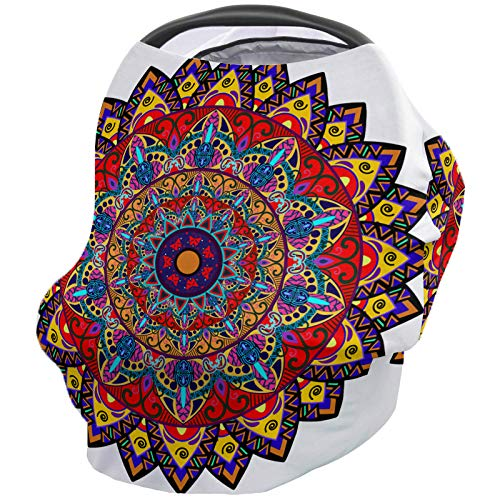 Great Features Of Breastfeeding Nursing Cover Multi Use for Baby Car Seat Ethnic Mandala Round Flora...