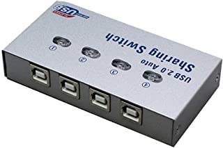 USB 2.0 Sharing Switch Selector Sharing 4 Sharer Devices Switcher Peripheral Switcher Box without Print Wire Electronic Ac...