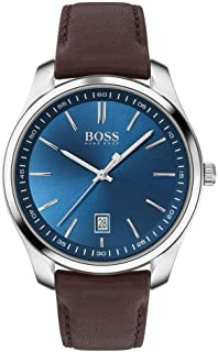 Hugo Boss Mens Quartz Watch, Analog Display and Leather Strap 1513728