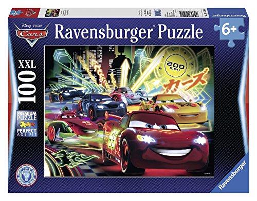 Ravensburger 10520 - Cars Neon Racers Disney, Puzzle 100 Pezzi XXL
