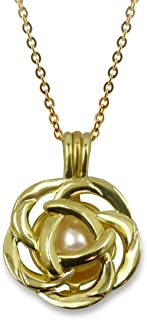 Rose Flower Gold Plated Cage Necklace Cultured Pearl in Oyster Set w/Stainless Steel Chain 18