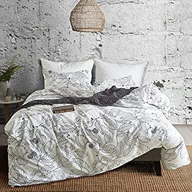 Hyprest Leaf Duvet Cover Set Queen Lightweight Soft White Black 3PC Comforter Cover Set Hotel Quality with Sketch Design (Queen)