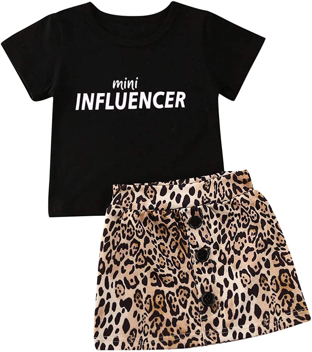 Fashion Baby Girl Skirt Outfits Set Short Sleeve Mini Influencer Tops T-Shirts Leopard Mini Button Skirt Summer Clothes