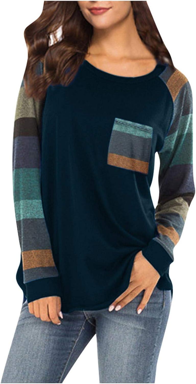 Forwelly Long Sleeve T Shirt for Women Trendy Plaid Patchwork O Neck Tee Shirt Lightweight Sweatshirt Tunic Top Blouse