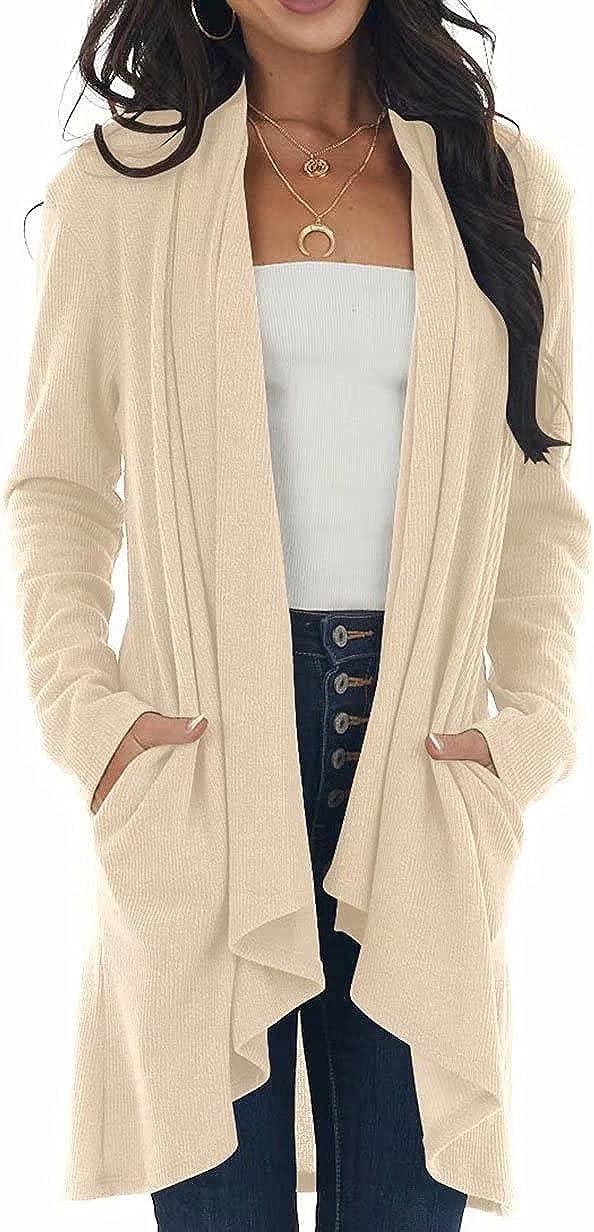 Lacozy Women Open Front Drape Cardigans Long Sleeve Lightweight Duster Casual Knit Sweaters