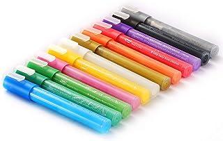 Zwbfu Marcador à base de água 12 cores Marcadores de tinta acrílica 3-5mm Dica reversível para artesanato DIY Lona Cerâmic...
