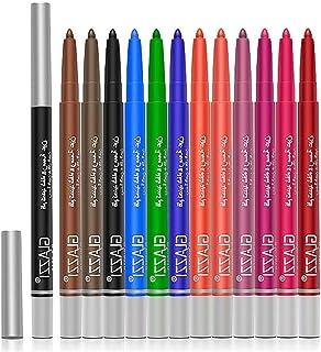 BLUEXIAO Delineador de 12 cores, delineador de olhos, delineador de gel, delineador colorido, à prova d'água para mulhere...