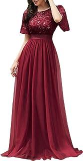 Damen Abendkleid A-Linie Spitze Kurze Ärmel Partykleid lang 00904