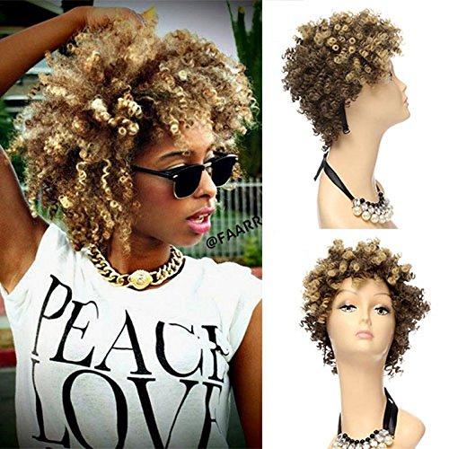 Royalvirgin Cheveux synthétiques courts, crépus et frisés de style afro avec reflets noirs, marron et blonds, résistant à la chaleur
