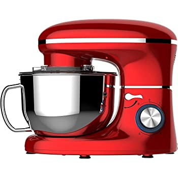 Heska -1500W Food Stand Mixer - 4-in-1 Beater/Whisk/Dough Hook/Flex Edge Beater - 5.5 Litre Mixing Bowl with Splash Guard (Red) New Dishwasher Save ATTACHMENTS