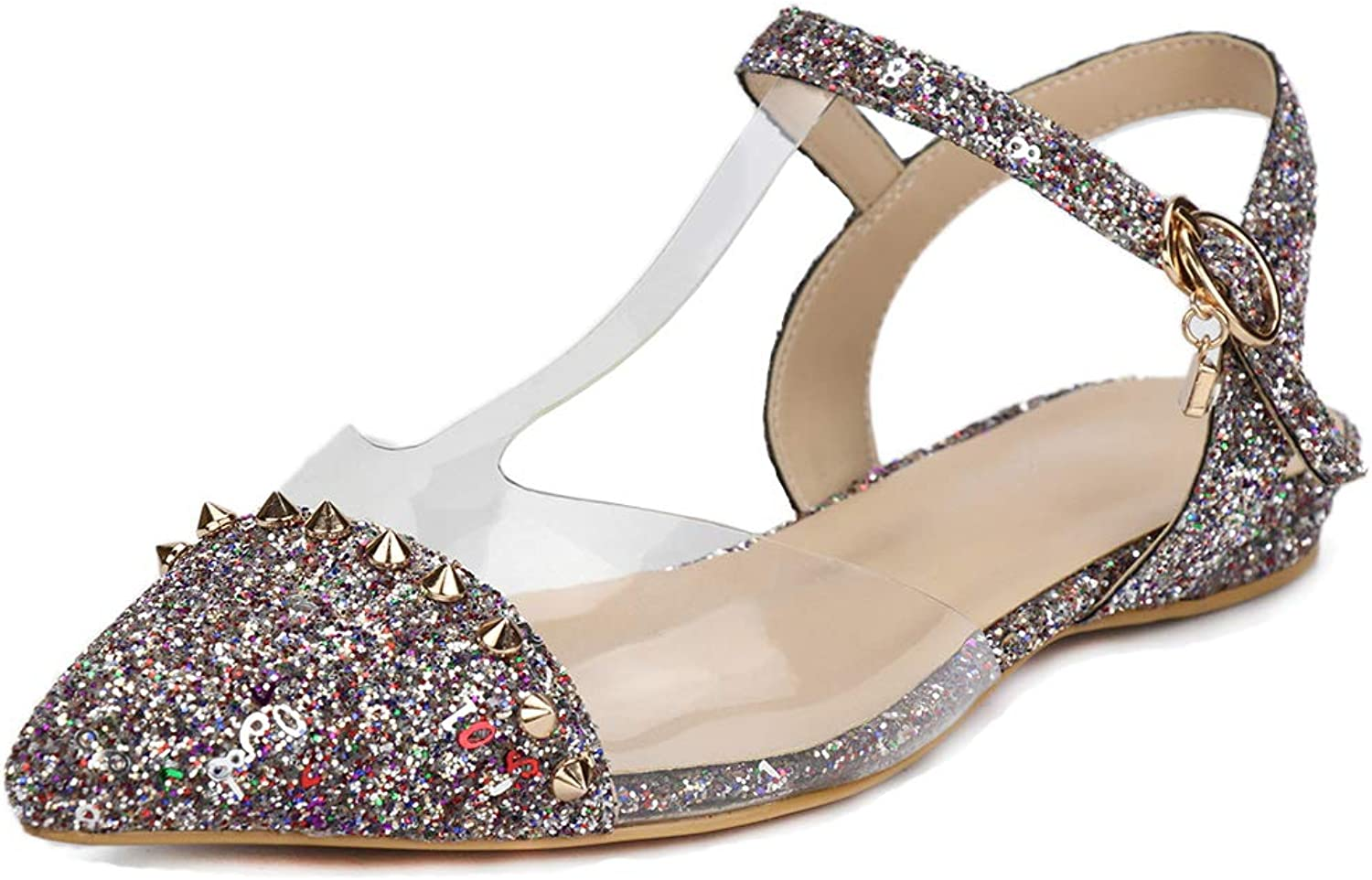 SaraIris Women's Pointed Toe Flat Heel Comfortable Ballet Buckle Strap D'Orsay Glitter shoes