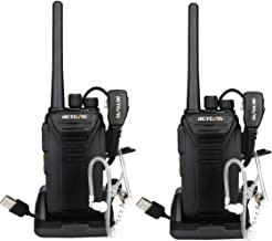 Retevis RT27V MURS Walkie Talkie VHF Rechargeable 5 Channel Two Way Radios with Covert Air Acoustic Earpiece (Black, 2 Pack)