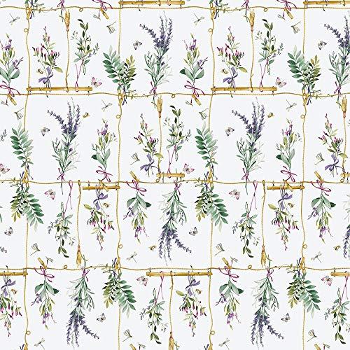 ecosoul 1,4m2 wasdoek tafelkleed Parfum de Provence takken lavendel bladeren beschermende deken metergoed breedte 140cm lengte selecteerbaar (100 cm)