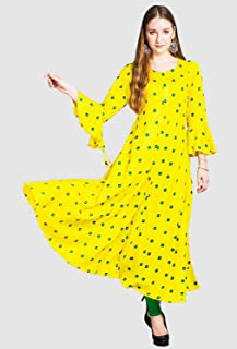 e5a1552e00 Mitu Creation Women's Georgette Long Embroidered Kurti(Yellow; free Size)
