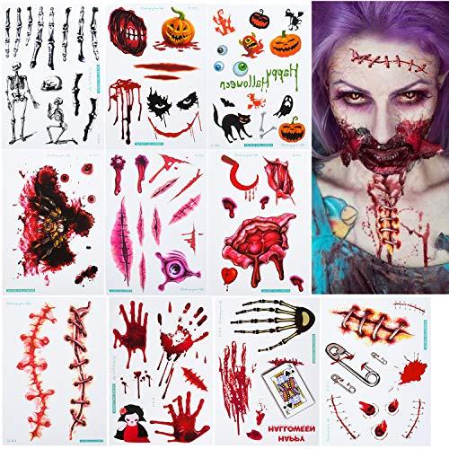 EKKONG Halloween Tattoos, Zombie Narben Tattoo Aufkleber, Wunden Kratzer Temporäre Tattoos mit Gefälschter Scab Blut Kratzer Tattoos für Halloween Make-up Cosplay, 10 Blatt