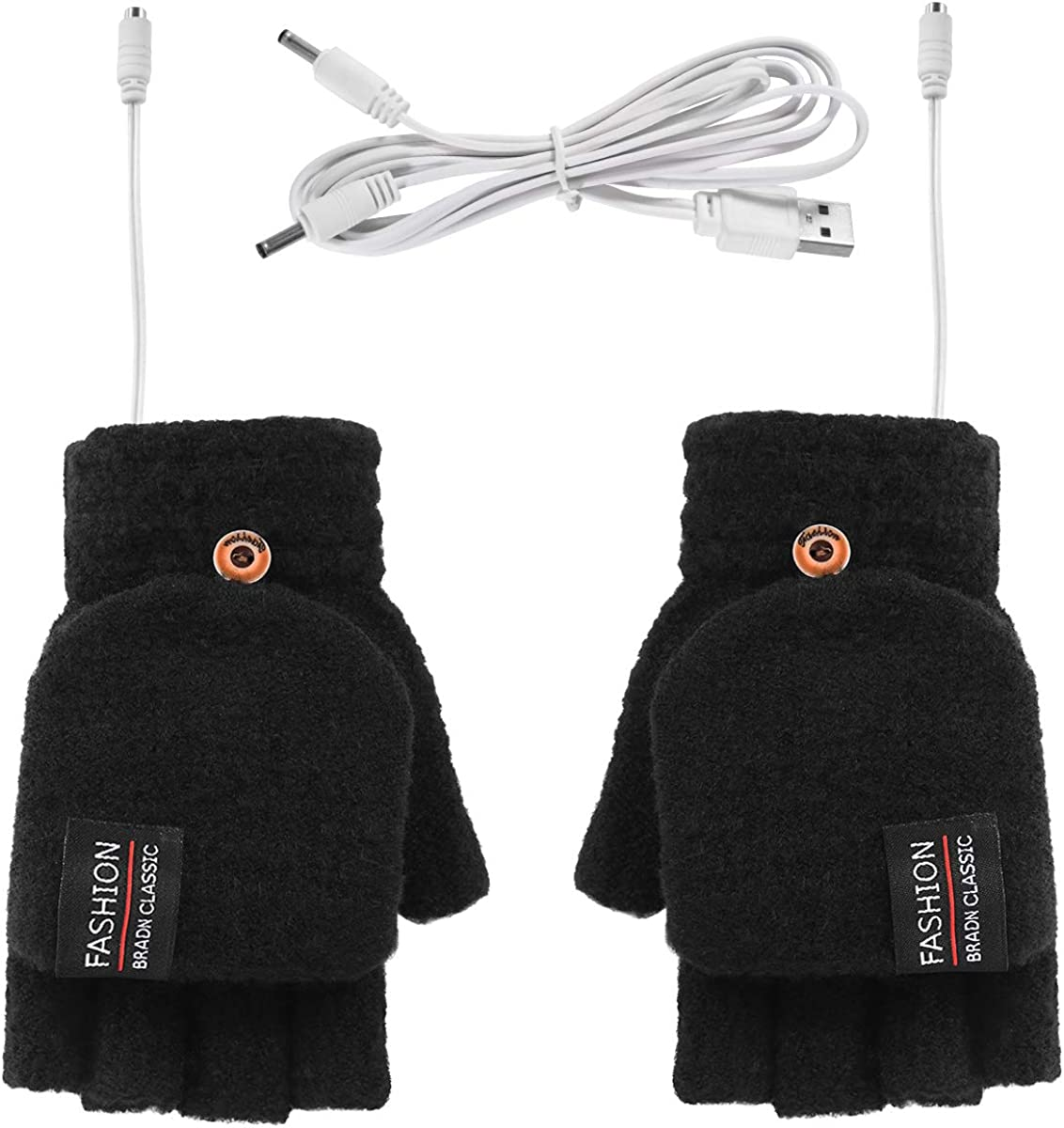 DERCLIVE USB Heated Gloves Winter Knitted Finger Mitten for Men and Women