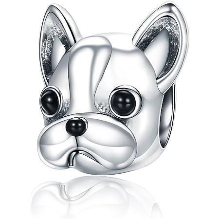 Ciondolo a forma di cane in argento Sterling 925 e perline, compatibile con braccialetti europei