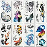 Temporary Tattoo Sticker, Fake Forest Wolf Fox Tattoos Flash Tattoo Sticker for Kids Men Women Makeup Body Art Fake Tattoo, 8-Sheet