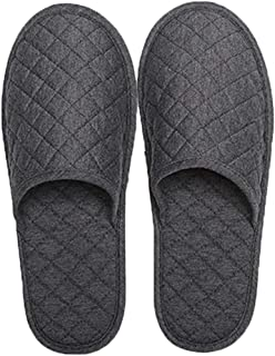 Portable Travel Slippers Folding Open Toe Sandals Non-Disposable Spa Hotel Slippers Washable Cotton Party Guest Room Indoor Shoes Women Men Business Anti-Skid Trip Flight Slippers