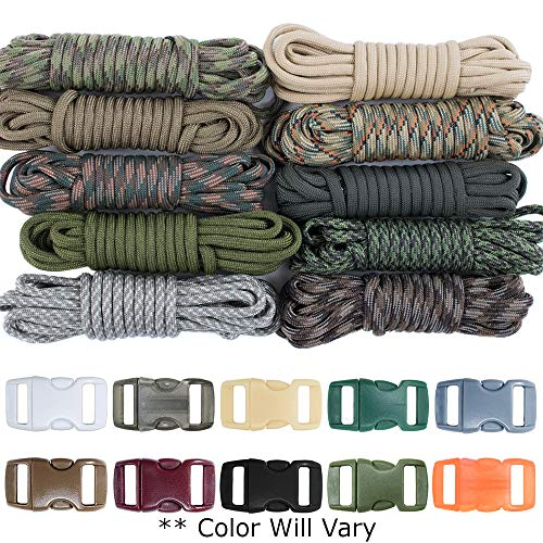West Coast Paracord Zesty 550lb Survival Paracord Random Combo Crafting Kit 10 Colors of 500lb Cord and 10 Buckles - Type III Paracord - Make 10 Paracord Bracelets - Great Gift (Zesty, 100ft)
