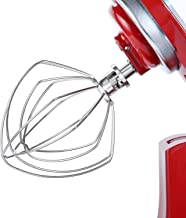 6 Wire Whip Attachment for Kitchenaid 4.5-5 Qt Tilt-Head Stand Mixer, Stainless Steel Polish Replacement Accessories K45WW, Egg Cream Stirrer, Flour Cake Balloon Whisk