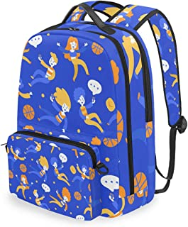 Mochila con bolsa de cruz desmontable conjunto lindo baloncesto computadora mochilas libro bolsa para viajes senderismo camping Daypack