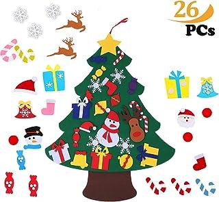 ZoneYan Fieltro Árbol de Navidad, Árbol de Navidad DIY con 26 Unids Desmontable Adornos Navidad Decoración