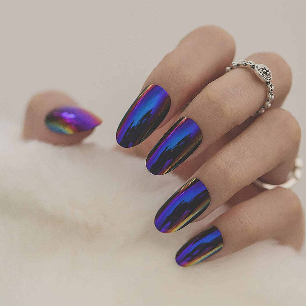 Yalice 24Pcs Blue False Nails Glitter Reservation Full Cover Oval Fake Dealing full price reduction Long