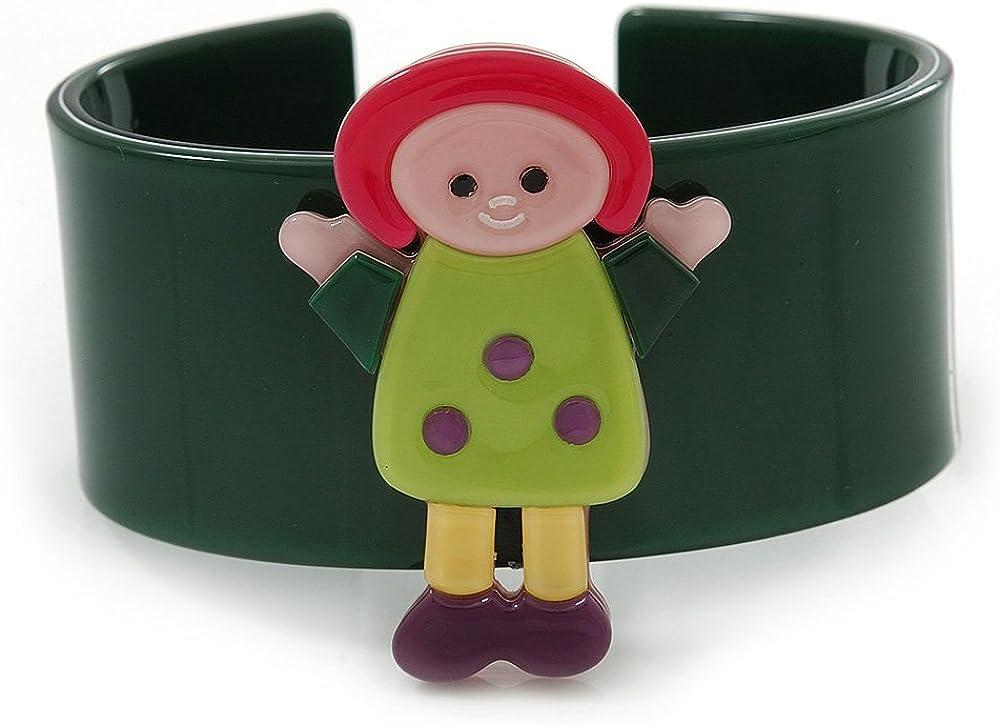 Avalaya Dark Green, Yellow, Light Green, Purple, Pink Dolly Acrylic Wide Cuff Bracelet - 19cm L