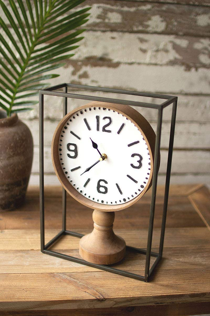 KALALOU CHW1199 Metal Framed Wooden Clock 13-inch Max Sale Special Price 80% OFF Heig Tabletop