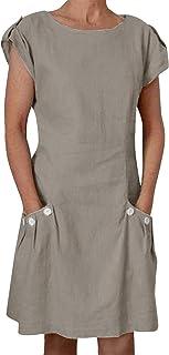 Yidarton Damen Kleider Leinen Strandkleider Elegant Casual A-Linie Sommer Kleider Kurzarm Maxi Lang
