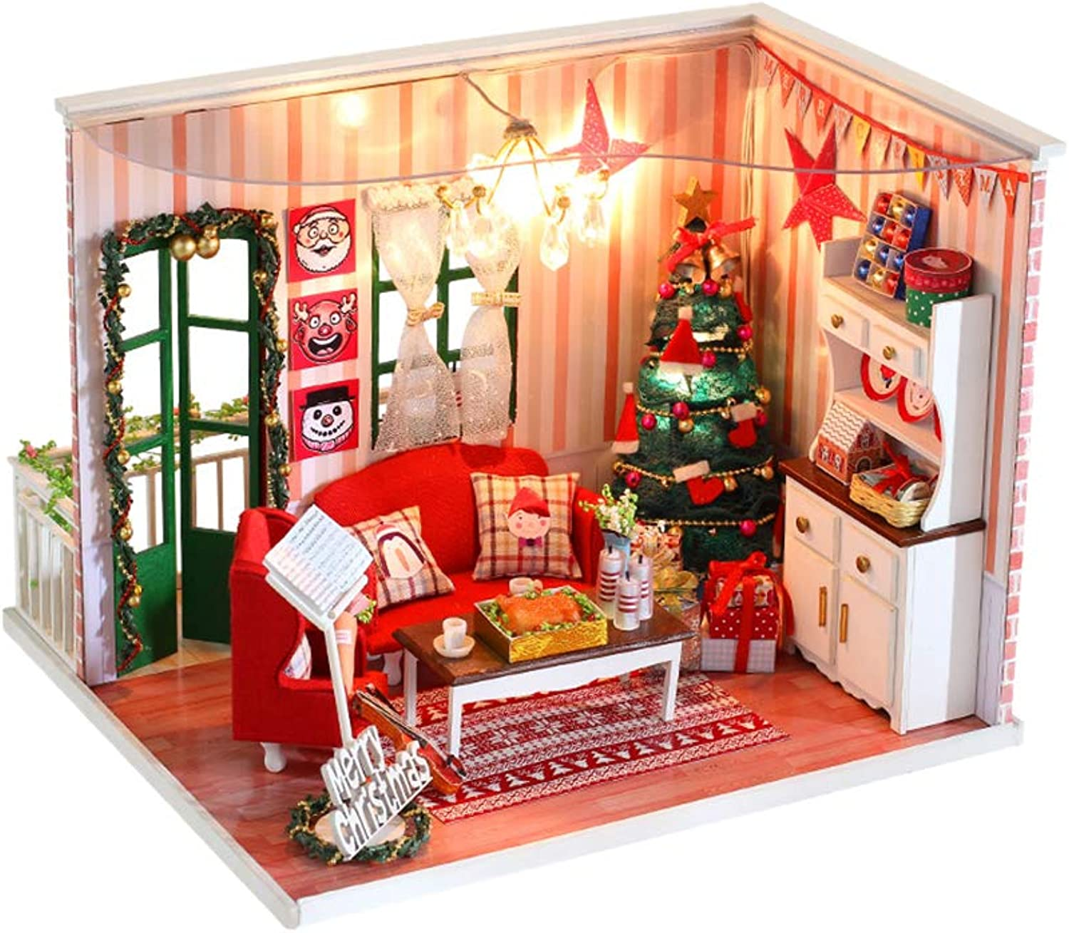 STOBOK Christmas Dollhouse Miniature DIY House Kit Model with Furniture