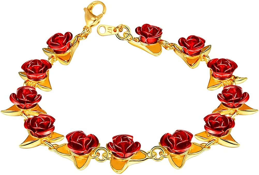 Women Girls Rose Flower Charm Bracelet 18K Gold or Platinum Plated Link 12 Roses Jewelry Lover Gift , Gift Packed(Rose/Locket Style/ 100 Lauguages I Love You)