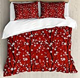 Lunarable Floral Duvet Cover Set, Cherry Blossom Tree Branches Beauty Japanese Traditional Folk Eastern Petals, Decorative 3 Piece Bedding Set with 2 Pillow Shams, Queen Size, White Scarlet